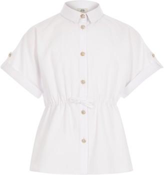River Island Girls White short sleeve waisted shirt