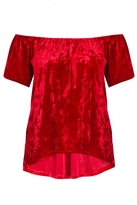 Quiz Red Crushed Velvet Bardot Top