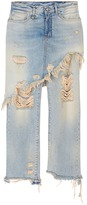R 13 Skirt overlay ripped cropped jeans