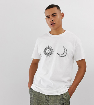 Reclaimed Vintage oversized t-shirt with sun and moon print in white