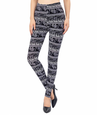 Kollie More Women's Leggings Black - Black Elephant Leggings - Women & Plus