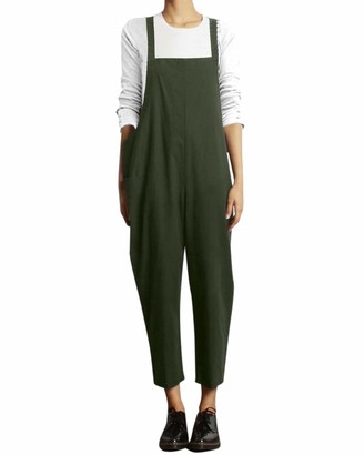 VONDA Women's Strappy Jumpsuits Baggy Overalls Casual Cotton Dungarees D-Army Green 5XL