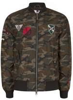 Topman Mens Khaki Camouflage Print Badge Bomber Jacket