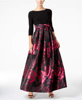 Jessica Howard Rose Jacquard Sash Gown