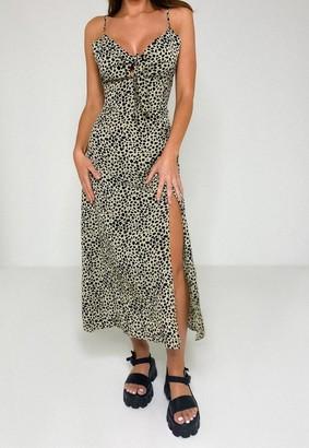Missguided Stone Leopard Print Tie Front Midi Dress