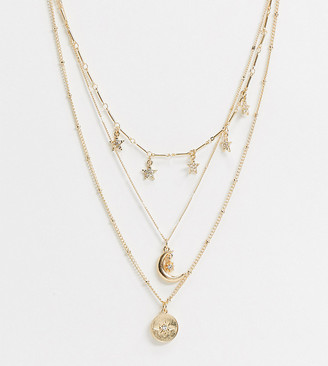 Reclaimed Vintage inspired moon and stars multirow necklace in gold