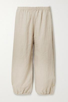 SUZIE KONDI Safari Cropped Linen Tapered Pants - Beige