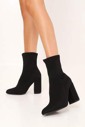 I SAW IT FIRST Black Lycra Ankle Sock Boots