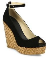 Jimmy Choo Pacific 120 Suede Ankle-Strap Cork Wedge Peep Toe Sandals