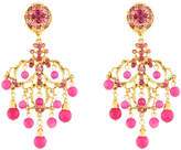 Jose & Maria Barrera Agate & Crystal Filigree Chandelier Earrings