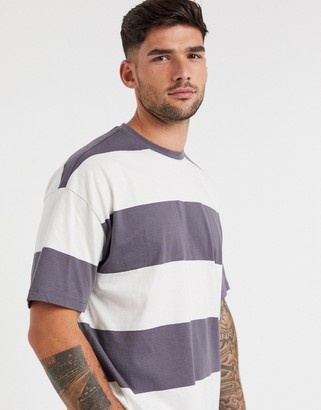 New Look wide stripe t-shirt in dark grey