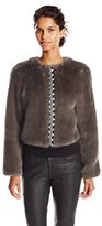 Twelfth Street By Cynthia Vincent Women's Embroidered Placket Faux Fur Jacket