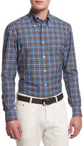 Kiton Check Long-Sleeve Sport Shirt, Blue/Brown