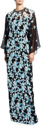 Rickie Freeman For Teri Jon Jewel-Neck Floral Chiffon Kaftan Gown