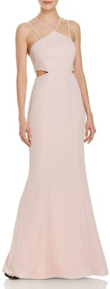 Laundry by Shelli Segal Women's Strappy Cutout Gown with Back Cascading Ruffles