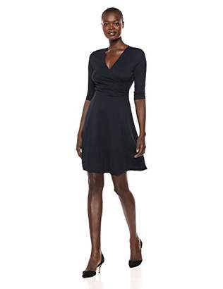 Lark & Ro Women's Three Quarter Sleeve Faux Wrap Fit and Flare Dress