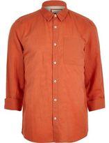 River Island MensRed linen-rich shirt