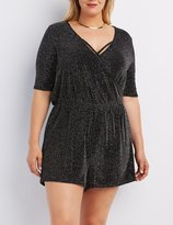Charlotte Russe Plus Size Shimmer Strappy Surplice Romper