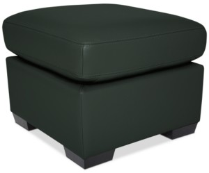 """Furniture Lothan 24"""" Leather Ottoman, Created for Macy's"""