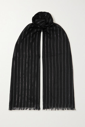 Saint Laurent Metallic Striped Cashmere-blend Scarf - Black
