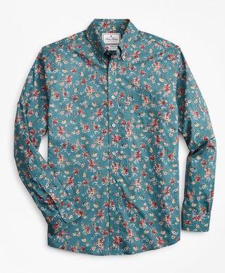 Brooks Brothers Luxury Collection Milano Slim-Fit Sport Shirt, Button-Down Collar Teal Floral Print