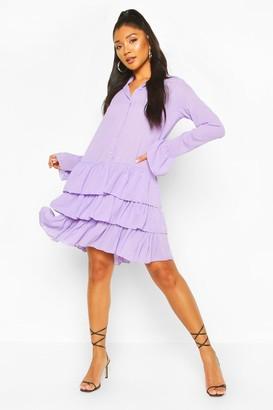 boohoo Ruffle Hem Shirt Dress