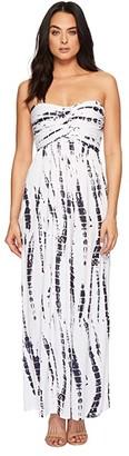 American Rose Liliana Maxi Dress (White/Navy Tie-Dye) Women's Dress