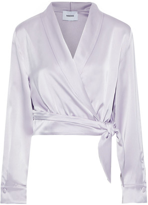 Nanushka Salome Draped Satin Wrap Top