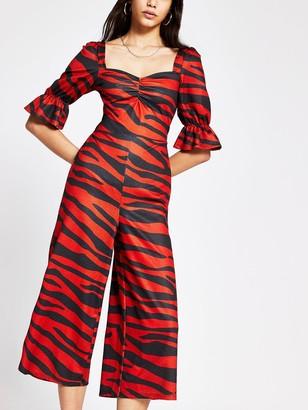 River Island Tiger Print Shirred Waist Jersey Jumpsuit - Animal Print