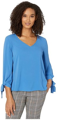 CeCe 3/4 Sleeve V-Neck Blouse with Sleeve Ties (Blue Jay) Women's Clothing