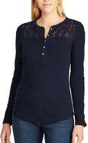 Chaps Petite Lace-Trim Henley Shirt