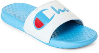 Champion White & Blue Super Slide Split Script Slide Sandals