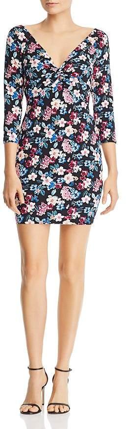 GUESS Islynn Twist-Front Floral-Print Mini Dress