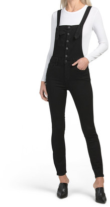 Button Front Skinny Overalls