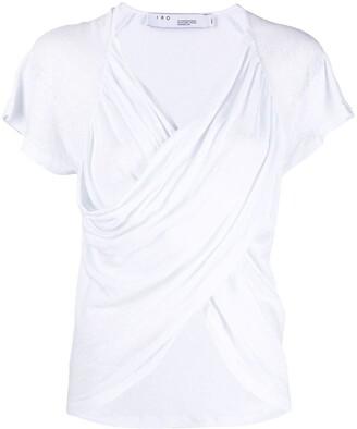 IRO ruched short-sleeved linen T-shirt