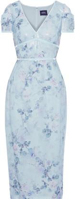 Marchesa Velvet-trimmed Sequined Floral-print Chiffon Midi Dress