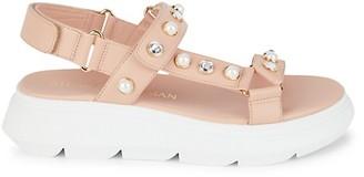 Stuart Weitzman Zoelie Embellished Leather Flatform Sandals