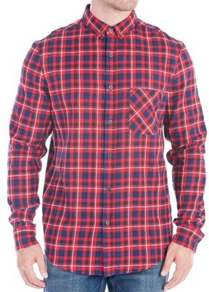 No Retreat Justus Men's Long Sleeve Brushed Plaid Woven with Singe Patch Pocket