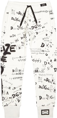 Dolce & Gabbana White printed cotton sweatpants