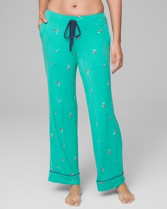 Cool Nights Grosgrain Trim Pajama Pants Very Cherry Cabana Teal RG