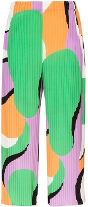 Issey Miyake Printed Pleated Cropped Trousers