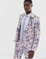 Burton Menswear wedding skinny suit jacket in blue floral print