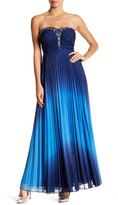 Speechless Glitter Ombre Strapless Pleated Gown