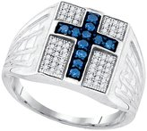 Diamond & CO Sterling Silver Mens Round Colored Diamond Cross Faith Ring 1/2 Cttw