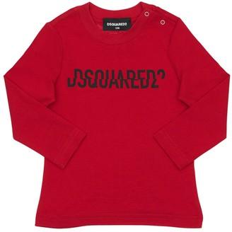 DSQUARED2 Split Logo Print Cotton Jersey T-shirt