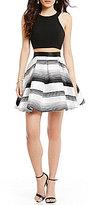Dear Moon Solid Open-Back Top Striped Skirt Two-Piece Dress