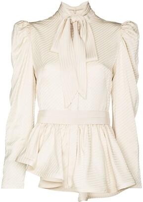Silvia Tcherassi Abigail tie-neck peplum blouse