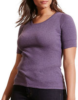 Lauren Ralph Lauren Plus Ribbed Cotton Tee