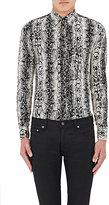Saint Laurent Men's Python-Print Silk Shirt-BLACK, WHITE, NO COLOR