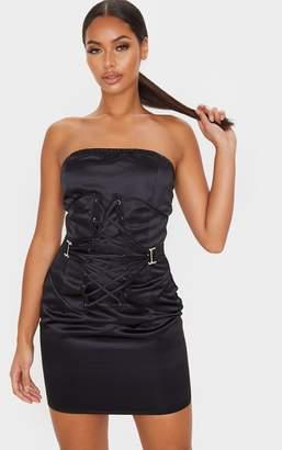 PrettyLittleThing Black Satin Bandeau Lace Up Corset Detail Bodycon Dress